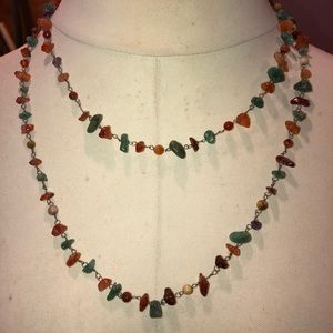 Long  gemstone wire necklace